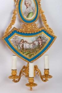 Paire d'appliques en faïence et bronze doré Napoléon III