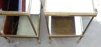1950/70 Paire de Dessertes Roulantes Maison Jansen en Laiton et Bronze  Doré Avec Galeries Ajourées