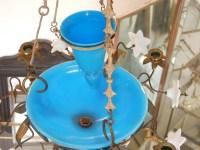 1880' Lustre aux Liserons avec Opaline Bleue