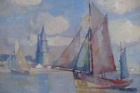 MORCHAIN Paul Peinture 20è Bateaux de pêche sortant du port de La Rochelle Huile signée