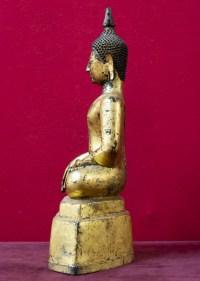 """Bouddha en bronze doré position """"Prise de la terre à témoin"""" Laos 18e siècle"""