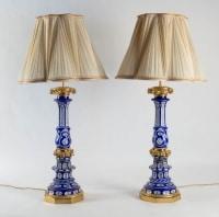 Tres Belle Paire de lampes en Cristal de Bohême overlay monture Bronze