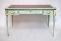 Petit bureau blat style Louis XVI laqué céladon