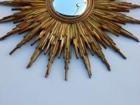 1970' Miroir Soleil Résine Dorée