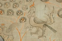 Tissu Peint, Encadré Sous Verre, 19ème siècle