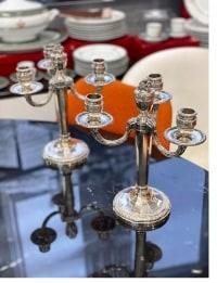 Puiforcat, paire de candélabres en argent style Louis XVI
