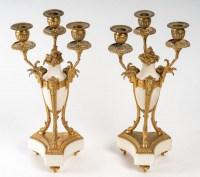 Paire de candélabres marbre blanc et bronze doré XIXème siècle