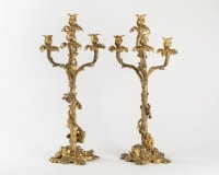 A Paire Of French 19th Century Ormulu Candelabras.