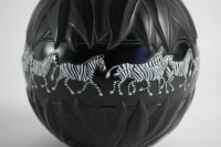 Marie Claude Lalique : Pair of Black and Frosted Glass 'TANZANIA' Vases