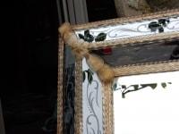 1970' Miroir Style Véronese  Parecloses et Fleurs Dorées a l Or 176 X 113 cm