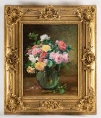 Justin Jules Claverie (1859 - 1932) : Bouquet de roses.