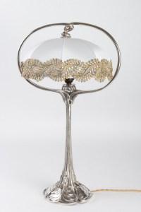 Lampe 1900 en métal argenté