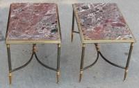 1950/70' Paire de Bouts de Canapés Maison Jansen Avec Marbre Levanto 60 X 40 X H 42 cm