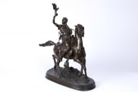 19th century orientalist bronze « The Arab falconer on horseback »    By Pierre-Jules Mêne (1810-1979)