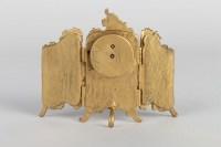Petit paravent-pendule en bronze et émail 19e siècle