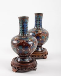 Pair Of Cloisonne Bronze Vases, China, XIXth Century