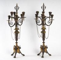 1 paire de bougeoirs de style néo classique ( Double patine brune et dorée )