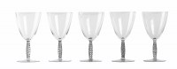 """Suite de 5 cinq verres à vin """"Dornach"""" verre blanc patiné gris de René LALIQUE"""