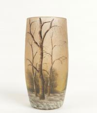 Daum Nancy vase émaillé paysage de neige
