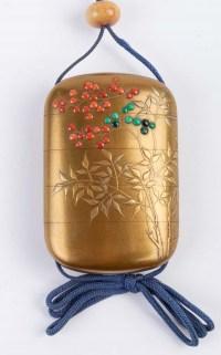 Inro en laque d'or signé Kajikawa-Shibayama