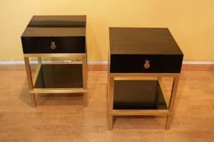 Paire de tables en bout de canapé modèle de Guy Lefevre pour la Maison Jansen