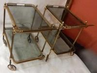 1970' Paire De Bars Roulants en Bronze et Laiton Doré Maison Baguès