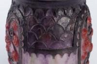 """Vase """"Primevères"""" pâte de verre rose, violette, noire et blanche - Gabriel ARGY-ROUSSEAU"""
