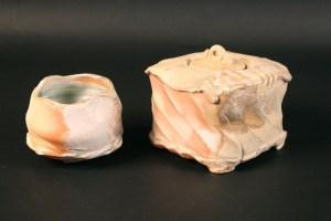 Michel COHEN - Boite et bol en porcelaine cuisson bois
