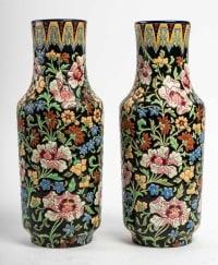 Paire de vases Longwy, XXème siècle
