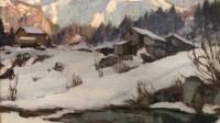 ABRATE Angelo Peinture XXè siècle Soleil sur le Mont Blanc Huile signée