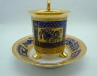 Tasse Tripode Doré Et Bleue – Porcelaine De Paris - XIXème