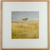 """Tableau """"Paysage à 2 arbres"""" - Estampe 29x29 cm"""