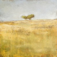 """Tableau """"Paysage à 2 arbres"""" - Huile sur bois 29x29 cm"""