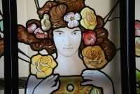 VITRAUX ART NOUVEAU FEMME A LA ROSE