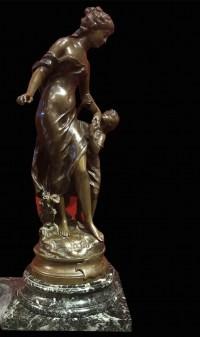 La Reconnaissance Bronze signé 19ème Siècle par Moreau Mathurin