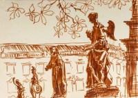 Dessin au feutre ocre de Luez, XXème siècle, représentant une suite de statues, encadré sous verre
