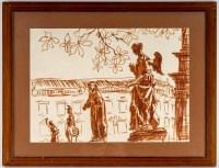Dessin au feutre ocre de Luez, XXème siècle, représentant une suite de statues, encadré sous verre.