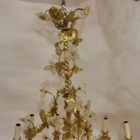 1880' Lustre en Bronze Doré Décor Floral 12 Lumiéres