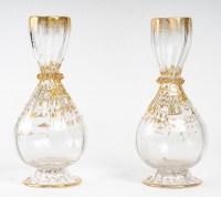 Paire de vases blancs et or en forme de bourse,  XIXème