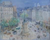 BERTIN Roger Ecole Française 20è siècle Paris La Place de Clichy Huile sur toile signée Ancienne collection Michou