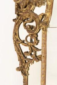 Grand miroir Régence à parcloses en bois doré, XVIIIème siècle