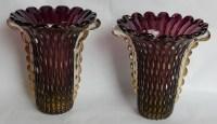 1970′ Paire de Vases Ou Similaires – Cristal Murano Violine et Or – Signés Toso H 32 cm