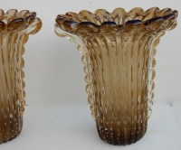 1970' Paire De Vases Cristal Murano Fumés Et Or Toso Signés