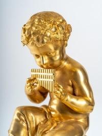 Prélude Bacchique:Enfant jouant de la Flûte de Pan.Pendule de Style Louis XVI par la Maison Charpentier.