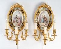 Paire d'appliques en bronze doré et plaque de porcelaine, Napoléon III, XIX siècle