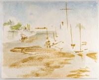 Peinture sur Papier, Vue d'un port, années 1970, Luez