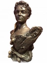 Campagne Pierre Sculpture Ancienne Signée XIXème siècle Buste de femme