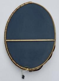 1970' Miroir Éclairant Maison Jansen Décor Bambou au Feuillage Style Duval Brasseur