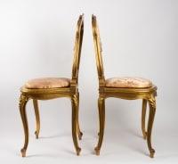 Paire de Chaises roses de Style LouisXV.  Période: Napoléon III