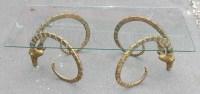 1970' ALAIN CHERVET (né en 1944) Attribué a, Table Basse Aux Protomés d' Ibex Bronze Patiné